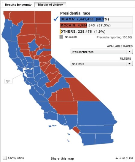 Nov. 2008 California presidential election results, by county
